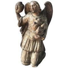 18th Century Baroque Gilded Wooden Kneeling Statue