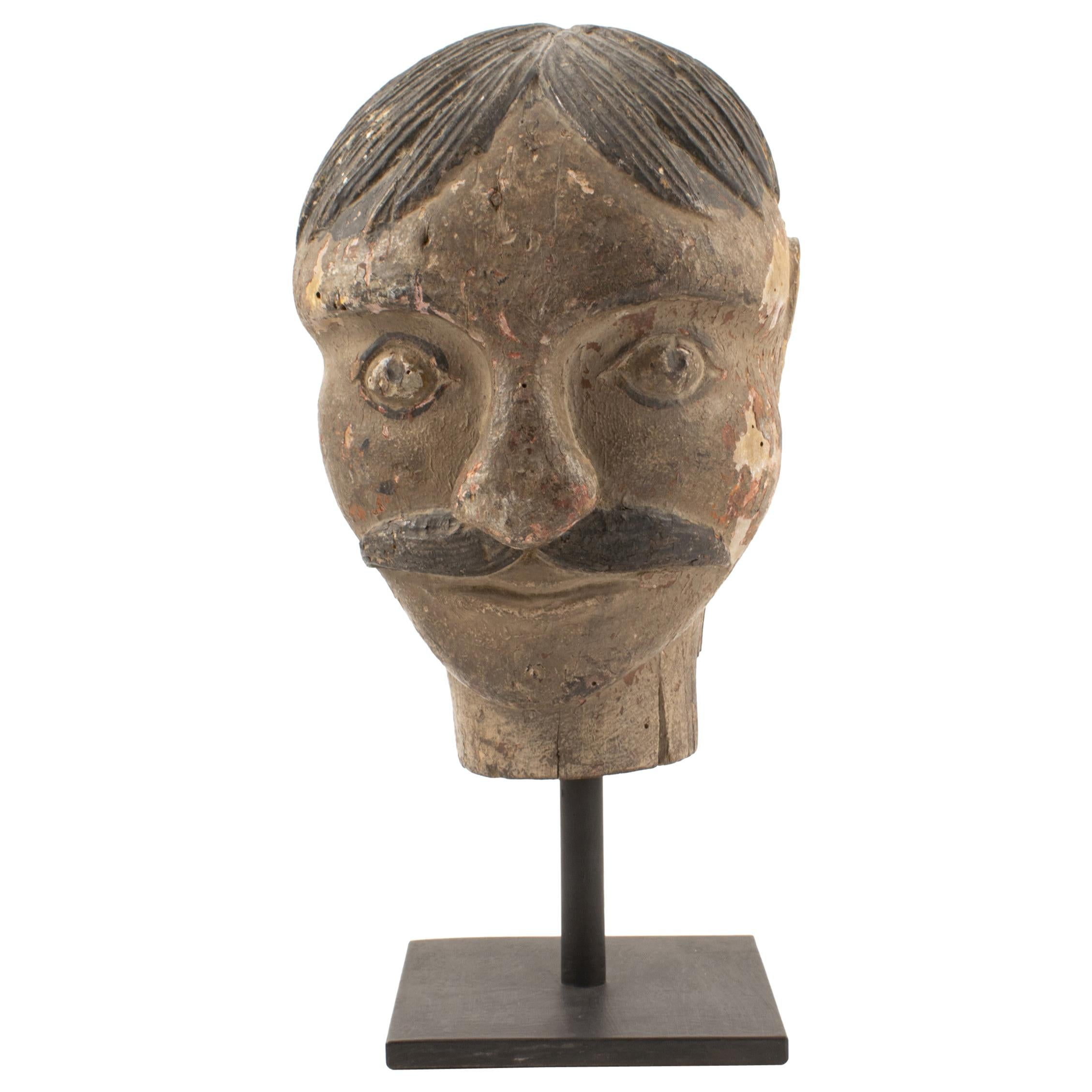 """18th Century Baroque Head Carving of """"Landlord"""""""