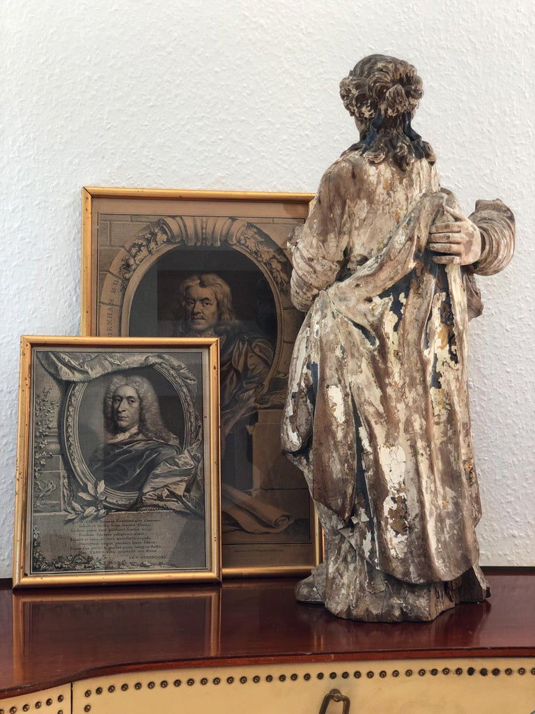 18th Century and Earlier 18th Century, Baroque, Italian School, Sculpture Carved in Oak For Sale