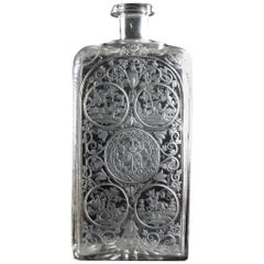 Engraved Heraldic Baroque bottle of the 18th century-Hunting motif (video)