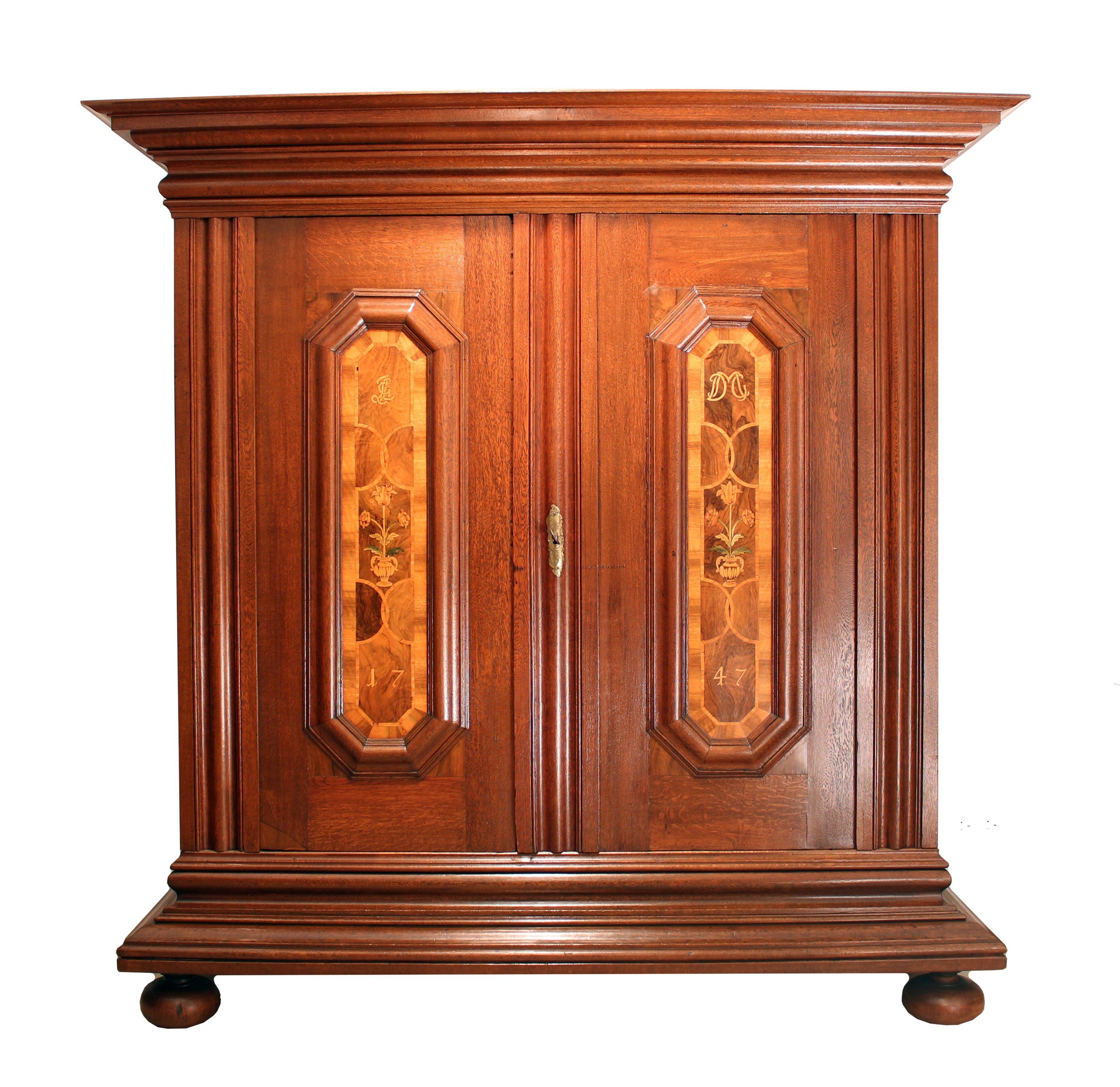 18th Century Baroque Oak Wood Wardrobe / Cabinet from Germany