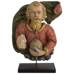18th Century Baroque Religious French Panel of Father God