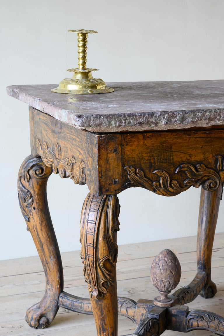 18th Century Baroque Stone Top Table In Good Condition In Helsingborg, SE