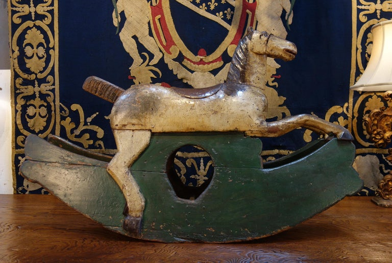 Italian 18th Century Baroque Style Painted Wood Rocking Horse, circa 1760 For Sale