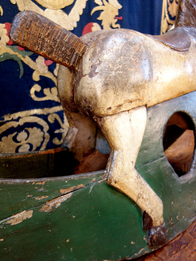 18th Century Baroque Style Painted Wood Rocking Horse, circa 1760 In Good Condition For Sale In Encinitas, CA