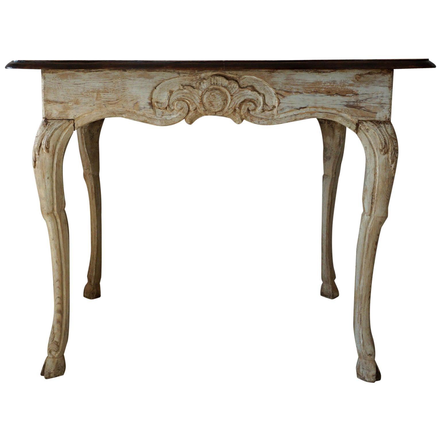 18th Century Baroque Walnut Table from Schloss Mainau, German Side Table