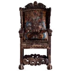 18th Century Baroque Wingback Armchair