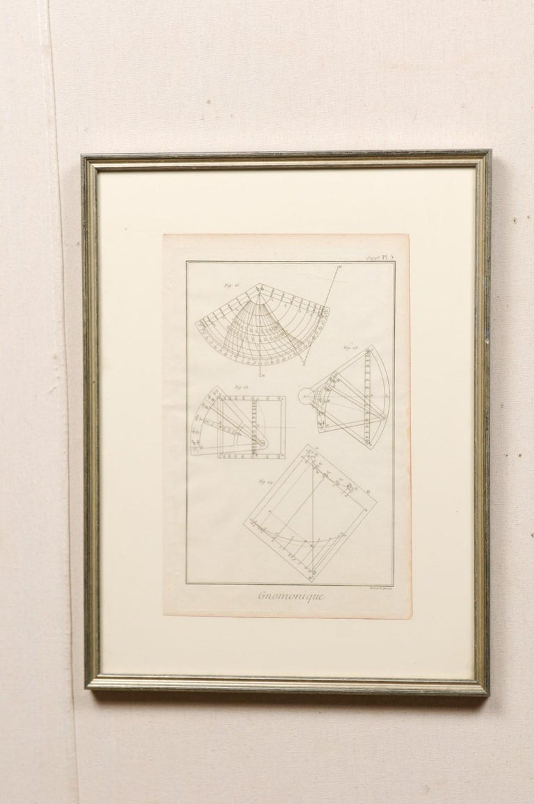 A pair of framed French 18th century Bernard Direx renderings. This is a pair of framed geometric renderings from French artist Bernard Direx in custom silvered wood frames. Each rendering was originally part of a larger book, and are copper plate