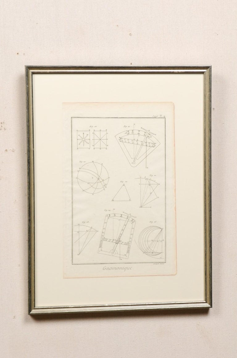 French 18th Century Bernard Direx Geometric Renderings in Frames For Sale
