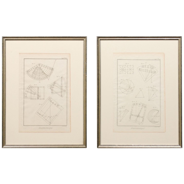 18th Century Bernard Direx Geometric Renderings in Frames