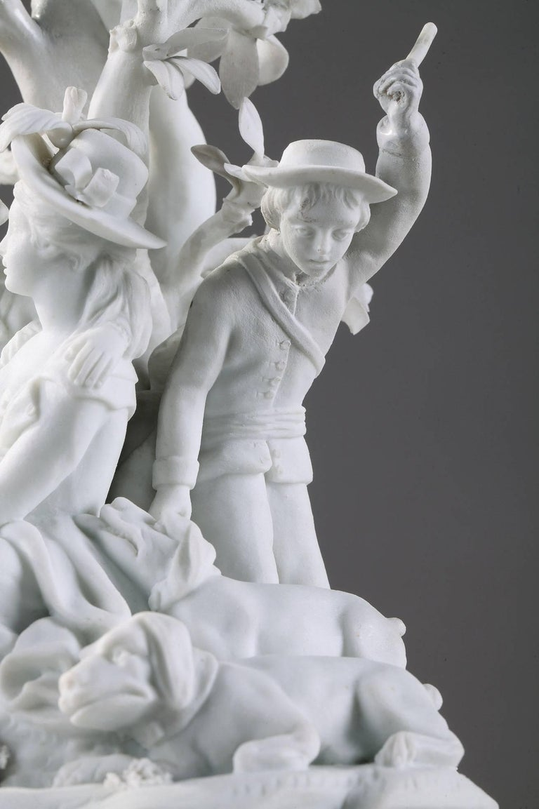 Porcelain 18th Century Bisque Group Hunting Scene with Gallant Couple For Sale