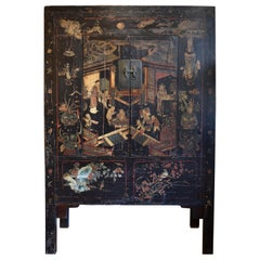 18th Century Black Lacquer Chinese Cabinet