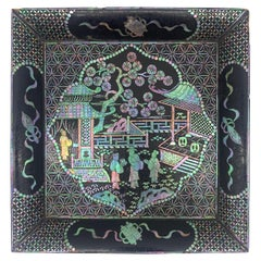 18th Century Black Lacquer Mother of Pearl Inlay Plate
