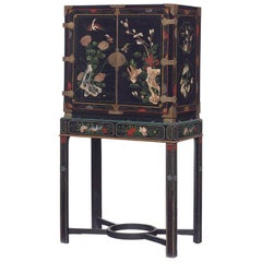An 18th Century Black Lacquered Brass and Chinese Coromandel Cabinet on Stand
