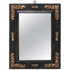 18th Century Black Wooden Frame with Gilt Acanthus Leaf Carvings in Corners