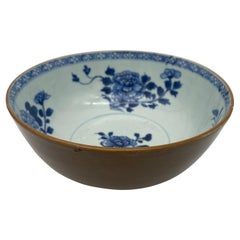 18th Century Blue and White Chinese Nanking Cargo and Cafe-au-lai Porcelain Bowl