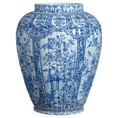 18th Century Blue and White Delft Pottery Vase