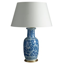 18th Century Blue and White Porcelain Vase Lamp