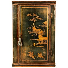 18th Century Blue Chinoiserie Japanned Corner Cupboard