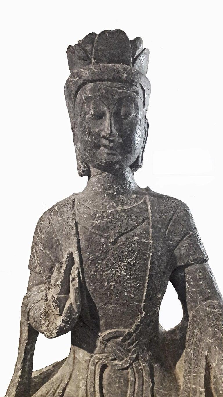 18th Century Bodhisattva Sculpture in Black Limestone ...