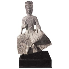 18th Century Bodhisattva Sculpture in Black Limestone, Henan, China