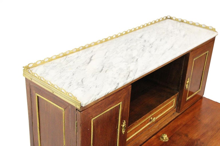 18th Century Bonheur Du Jour Desk Stamped Cramer in Mahogany Veneer For Sale 4