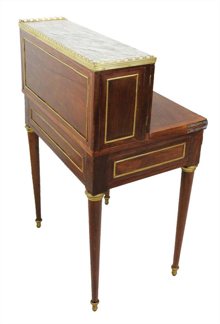 18th Century Bonheur Du Jour Desk Stamped Cramer in Mahogany Veneer For Sale 6