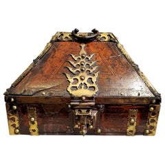 18th Century Brass and Lacquered Teak Decorative Indian Dowry Box