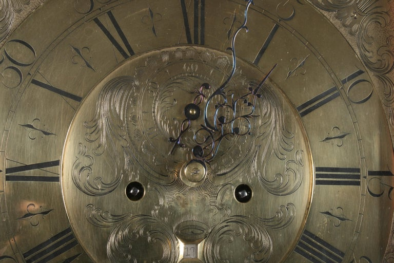 18th Century Brass Dial Grandfather Clock For Sale 7