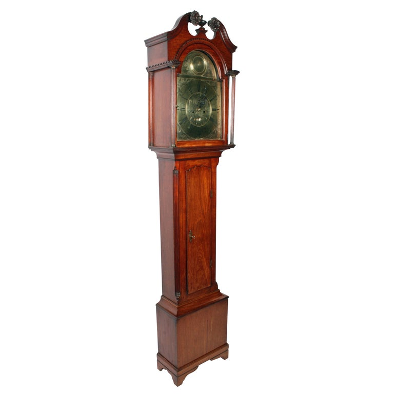 George III 18th Century Brass Dial Grandfather Clock For Sale