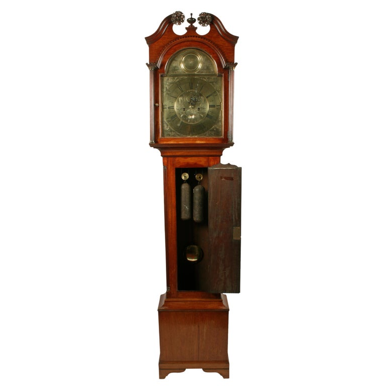 Scottish 18th Century Brass Dial Grandfather Clock For Sale