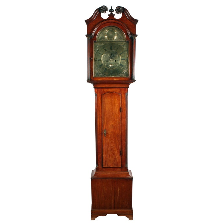 18th Century Brass Dial Grandfather Clock For Sale