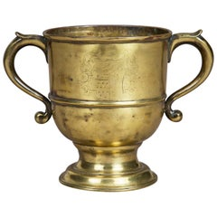 18th Century Brass Loving Cup, Arms of the Westons of Sutton Place, circa 1730