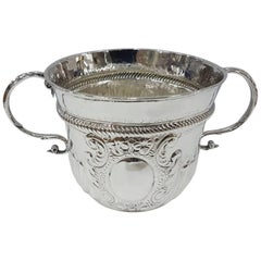 18th Century Britannia Standard Silver Porringer, Antique Queen Anne
