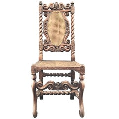 18th Century British Barley Twist Carved Caned Chair