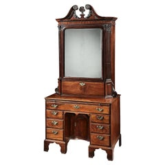 18th Century Brown Mahogany Irish Kneehole Cabinet