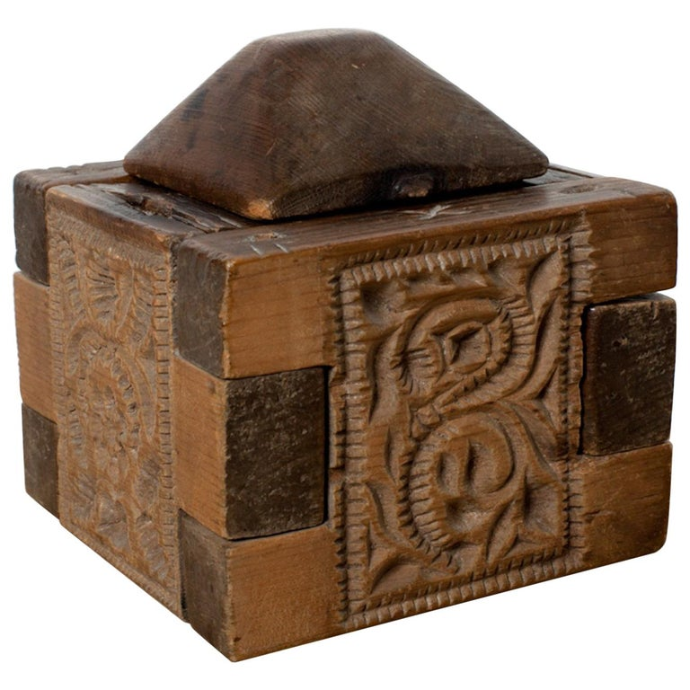 """18th Century Butter """"Church"""" Box Carved with Unique Patterned Imprints, 1788 For Sale"""