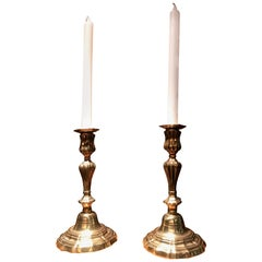 18th Century Candlesticks Candleholder Light in Brass Antique Gift Object, Pair