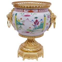 Canton porcelain vase with gilt bronze mount, 18th century