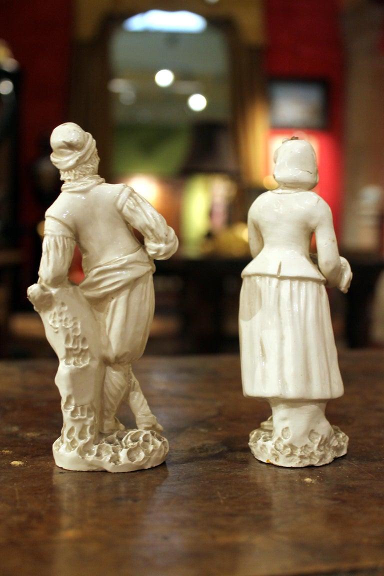 Rococo 18th Century Capodimonte White Glaze Porcelain Statue Male and Female Figurines For Sale