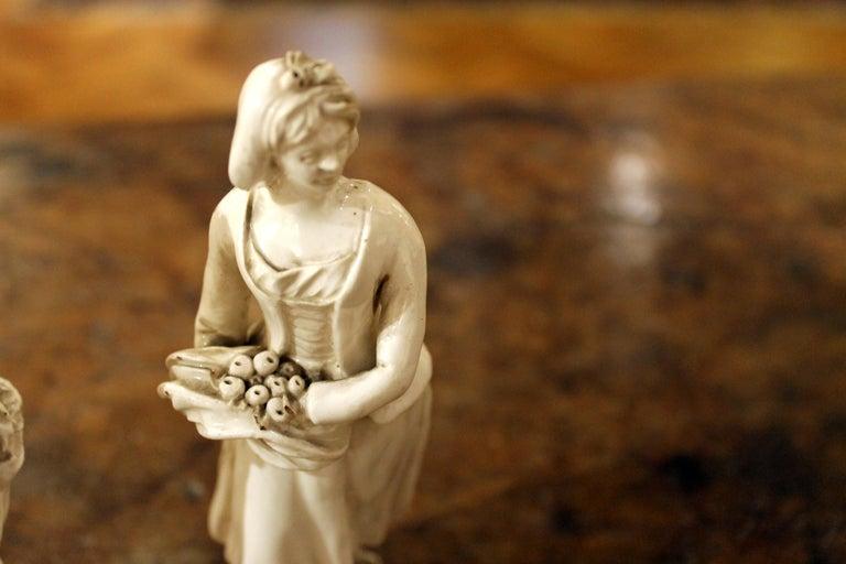 Italian 18th Century Capodimonte White Glaze Porcelain Statue Male and Female Figurines For Sale