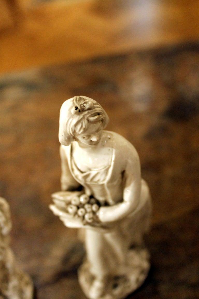 Glazed 18th Century Capodimonte White Glaze Porcelain Statue Male and Female Figurines For Sale