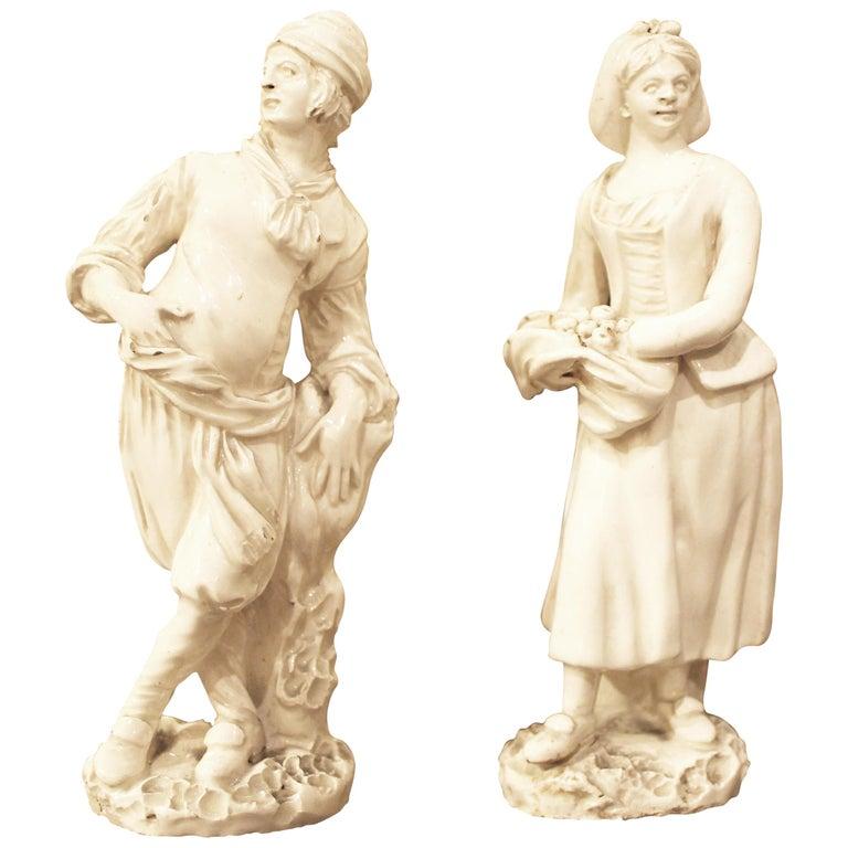18th Century Capodimonte White Glaze Porcelain Statue Male and Female Figurines For Sale