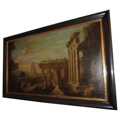 18th century Capriccio Italian Architectural Ruins Grand Tour Oil Painting