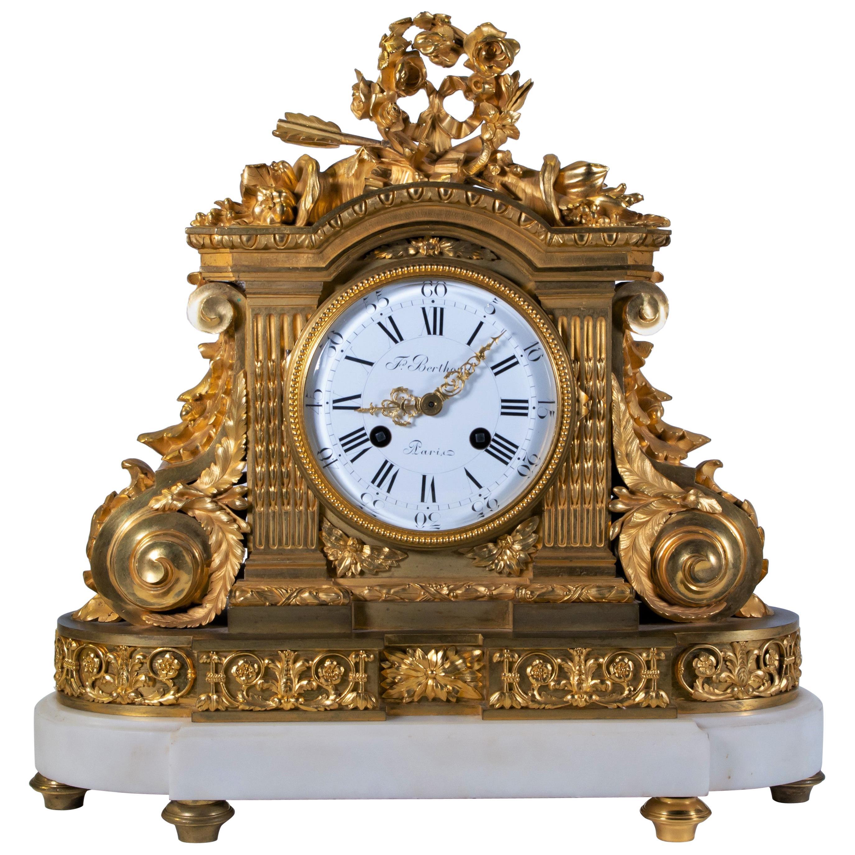 18th Century Carrara Marble and Dore Bronze Mantle Clock, F. Berthoud