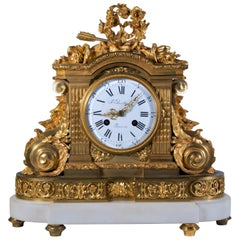 18th Century Carrara Marble and Dore Bronze Mantle Clock, F. Berthoud