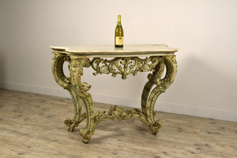 18th Century, Carved and Laquered Wood Italian Baroque Console For Sale 8