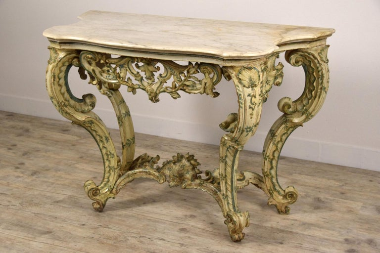 18th Century, Carved and Laquered Wood Italian Baroque Console For Sale 9
