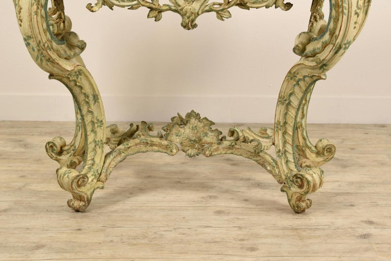 18th Century, Carved and Laquered Wood Italian Baroque Console For Sale 10