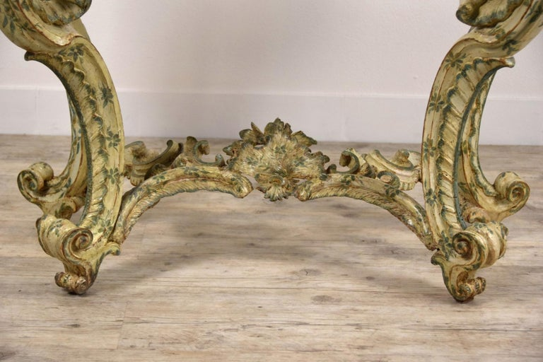 18th Century, Carved and Laquered Wood Italian Baroque Console For Sale 11